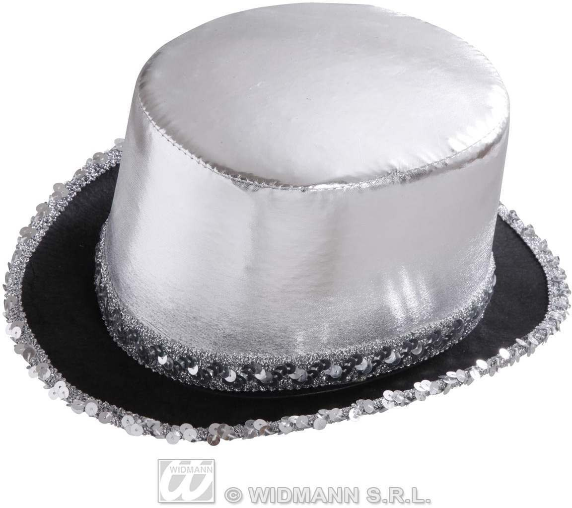 Top Hat Silver Lame' With Sequin Trim - Fancy Dress