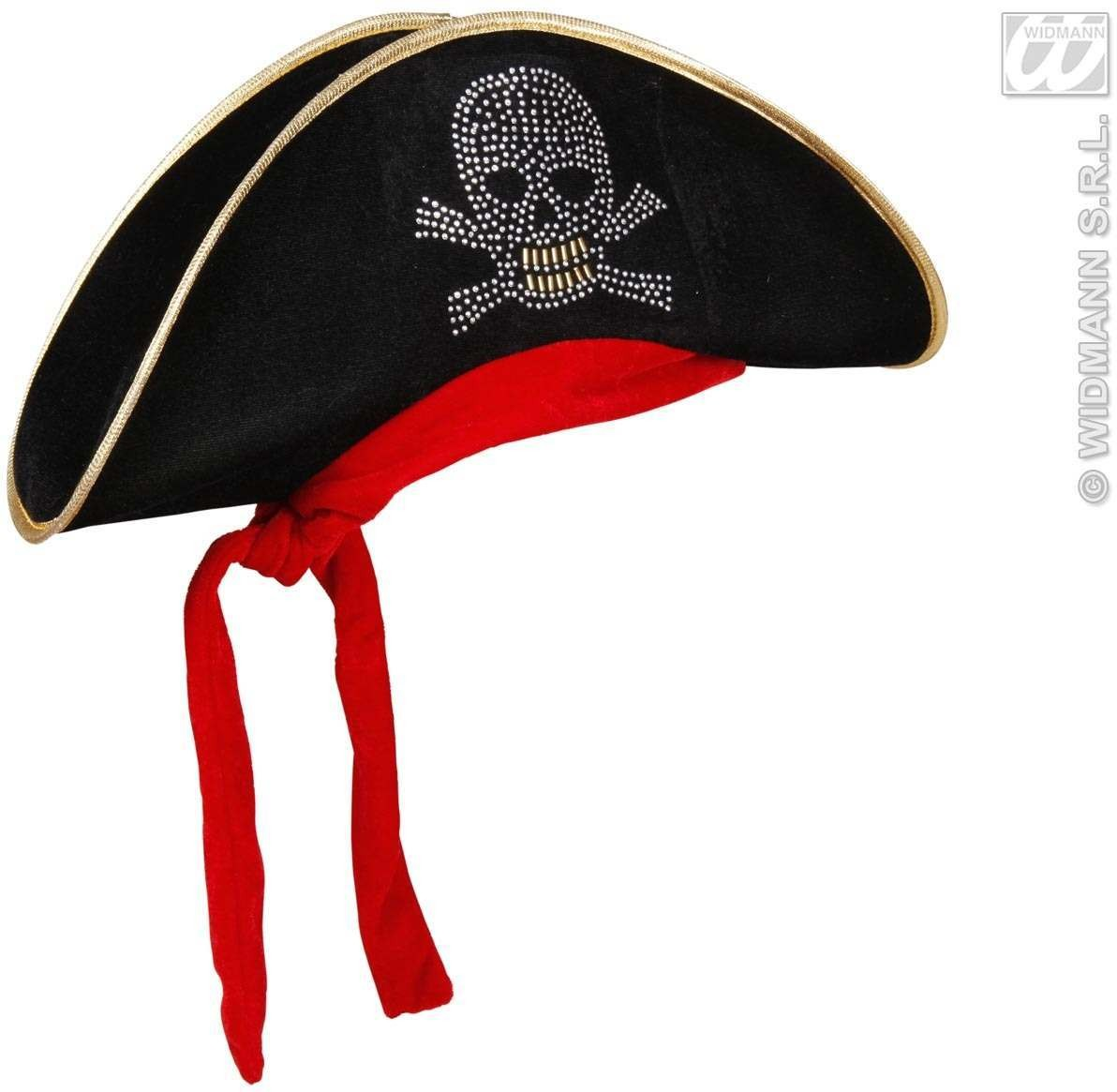 Pirate Hat Velvet W/Studded Skull & Bandana Fancy Dress (Pirates)