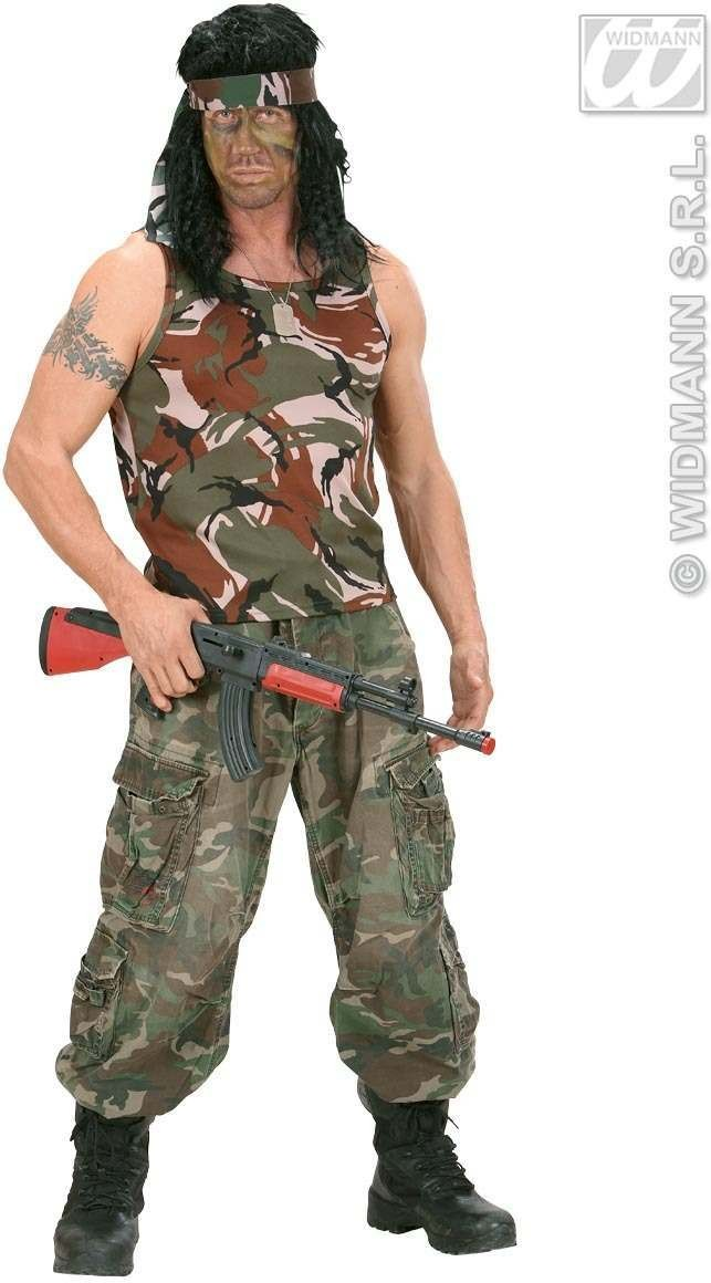 Camouflage Sleeveless Shirt M/L - Fancy Dress (Army)