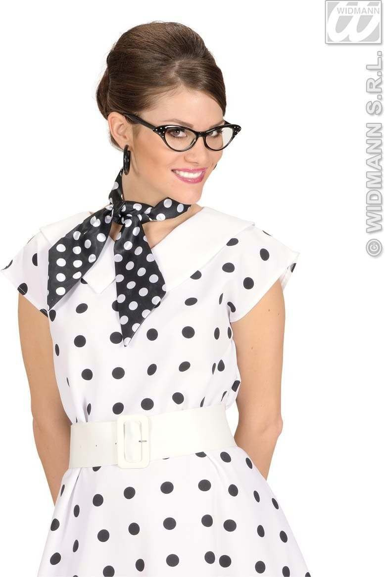 Satin Dotted Neck Sashes Black W/White Dots Fancy Dress