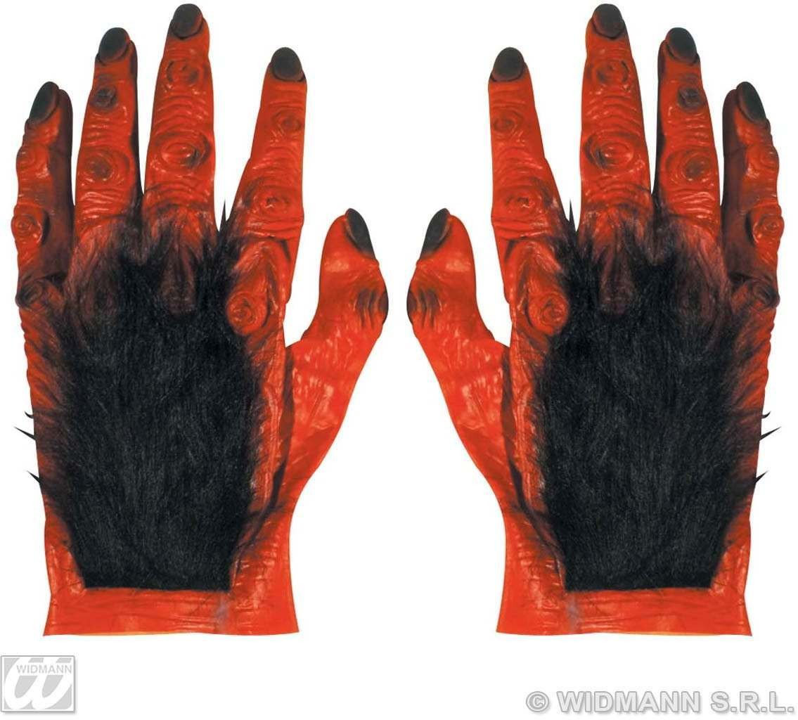 Pair Of Maxi Hairy Devil Hands In Latex Fancy Dress (Halloween)