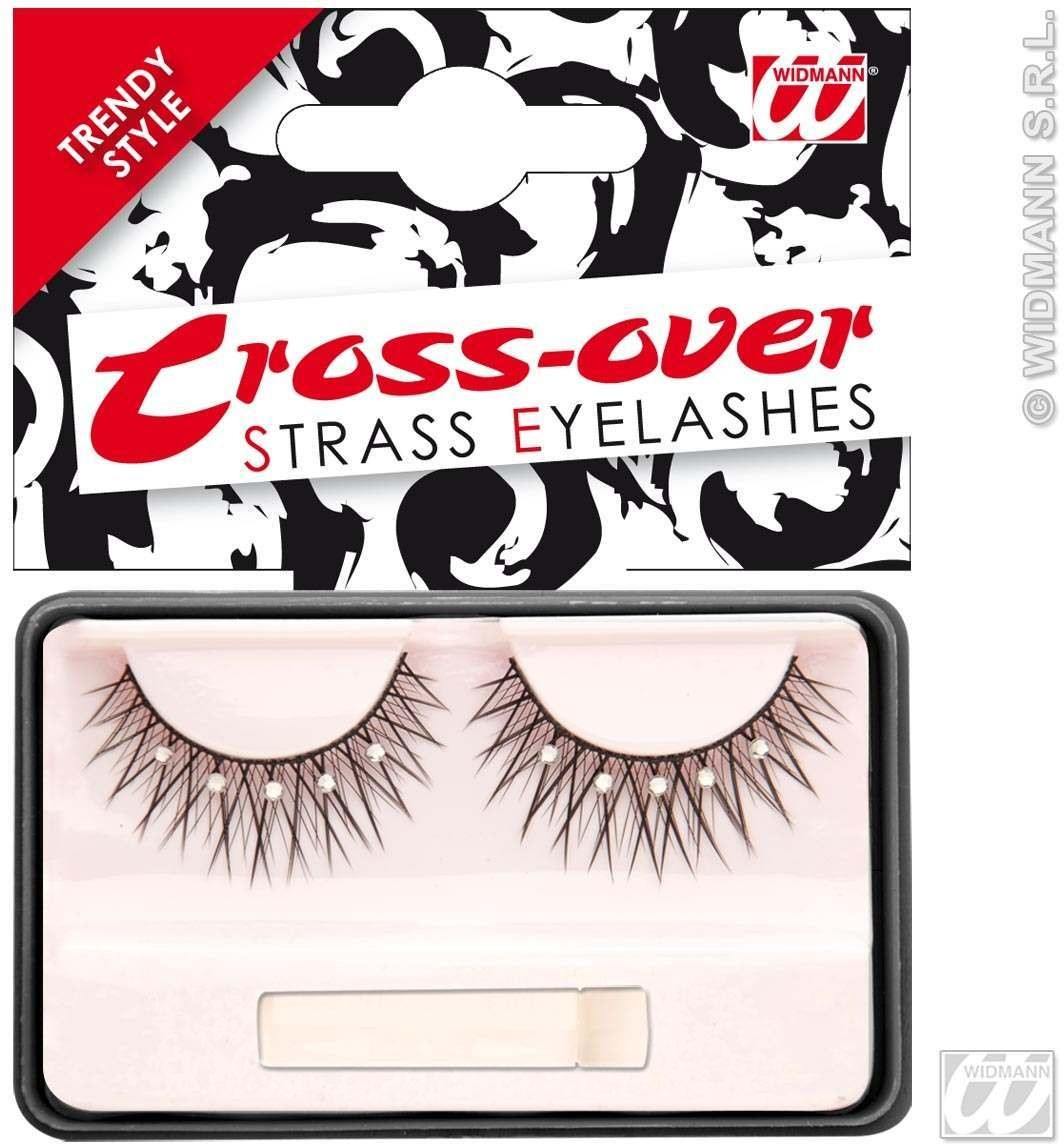 Eyelashes Black Cross Over Strass 2Cols - Fancy Dress