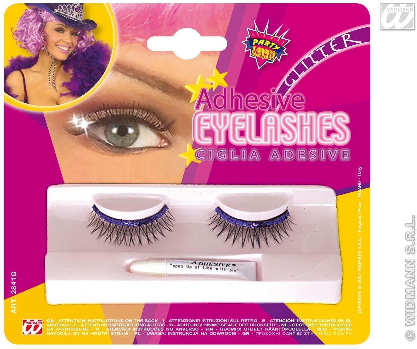 Glitter Eyelashes With Adhesive - Fancy Dress
