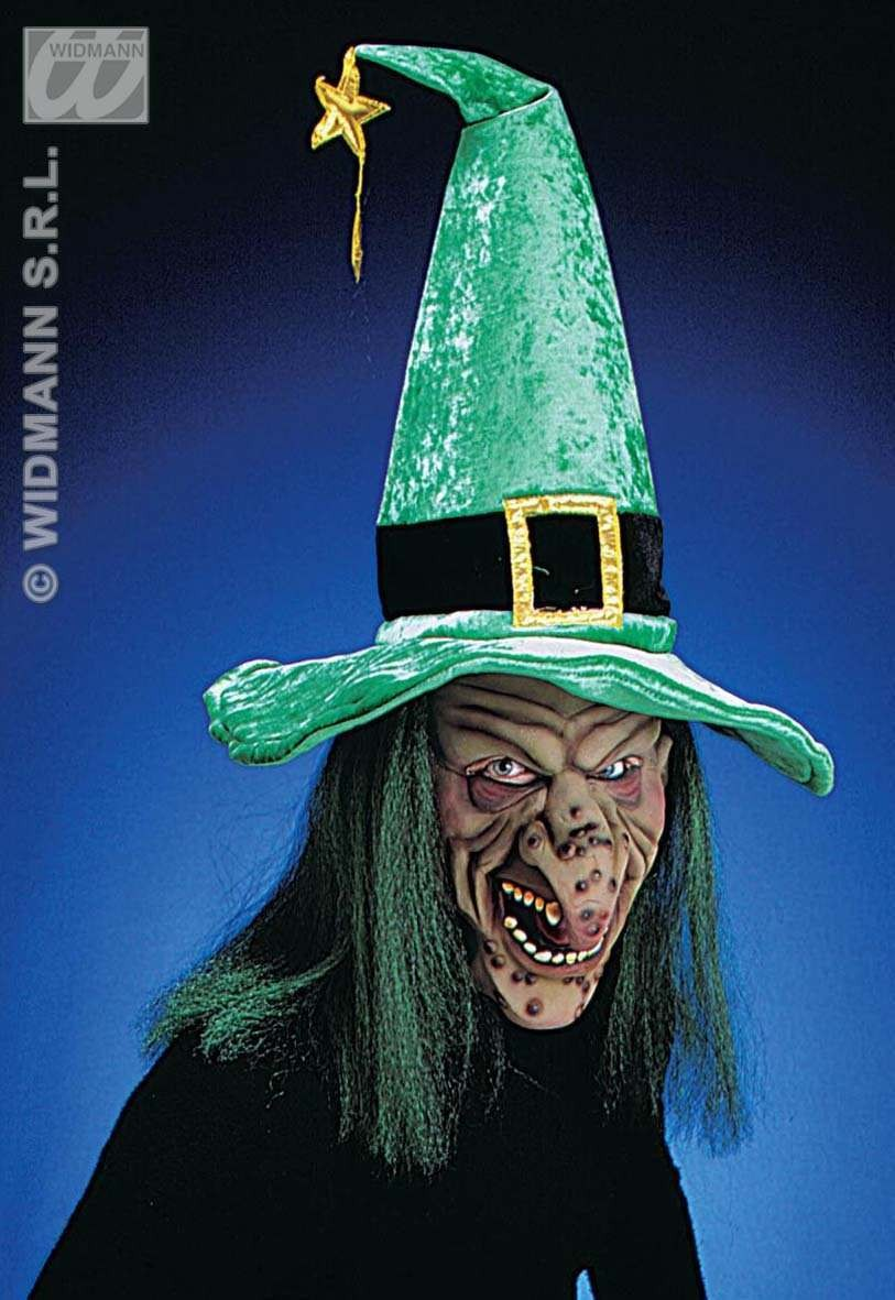 Witch Mask With Hat/Hair - Fancy Dress (Halloween)