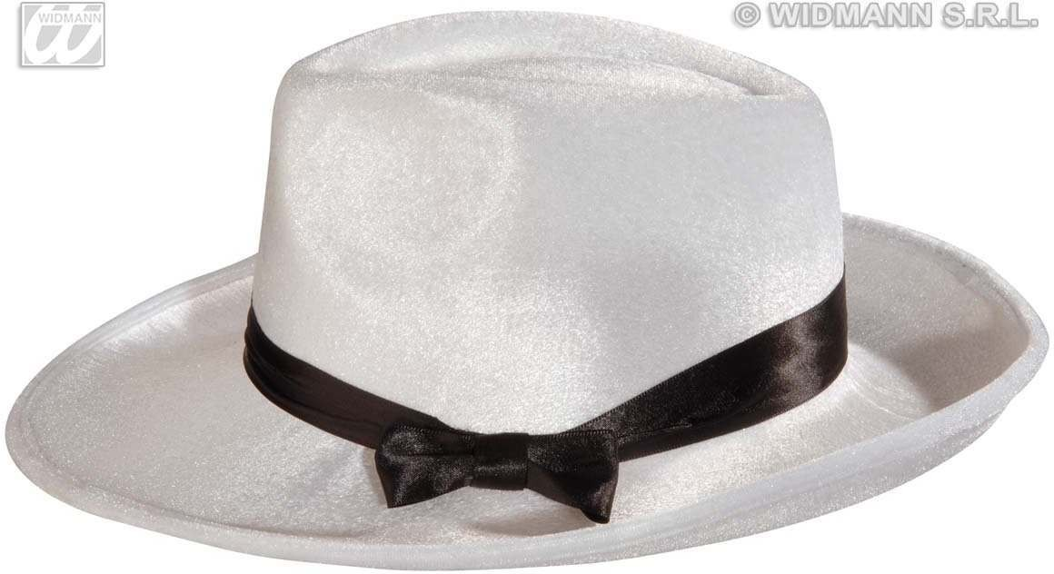 Gangster Hat Velvet W/Satin Ribb White - Fancy Dress