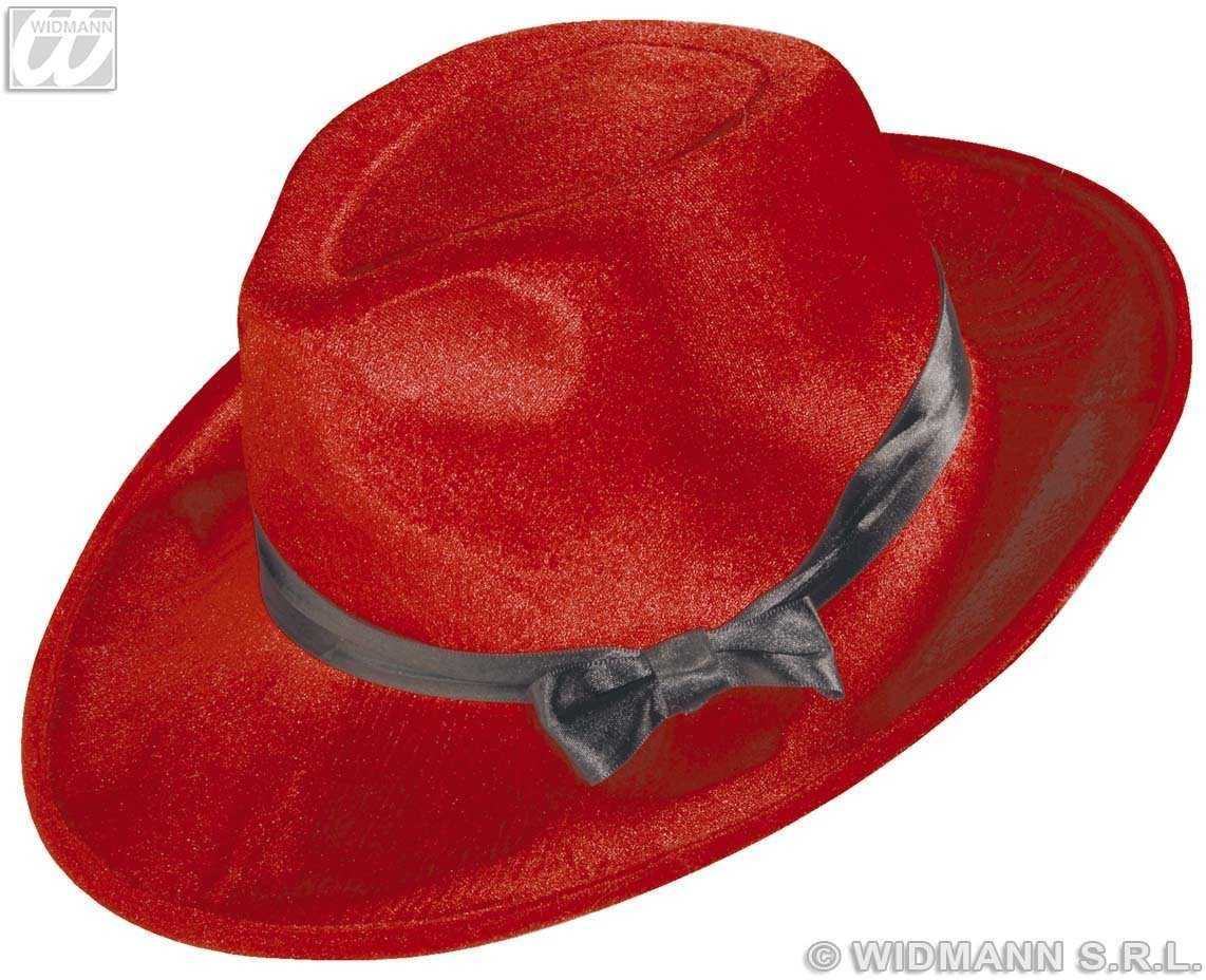 Gangster Hat Velvet W/Satin Ribb 6 Cols - Fancy Dress