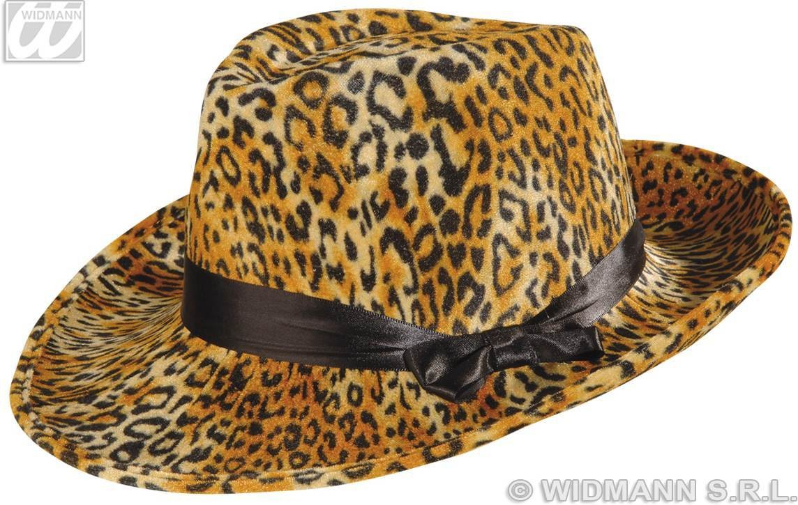 Leopard Velvet Party Hat W/Satin Ribbon - Fancy Dress