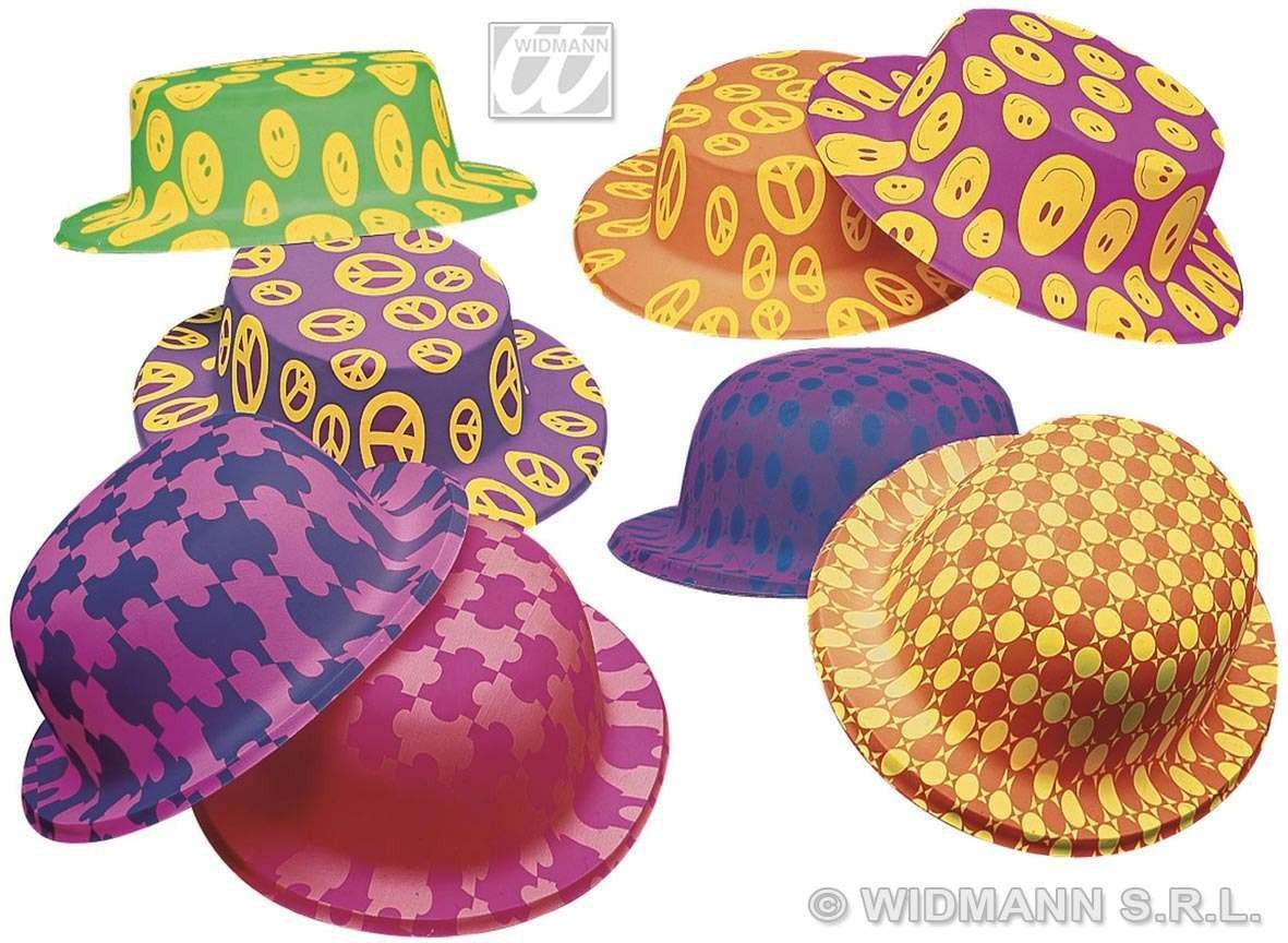 Fantasy Bowler/Boater Hats Neon 8Cols - Fancy Dress