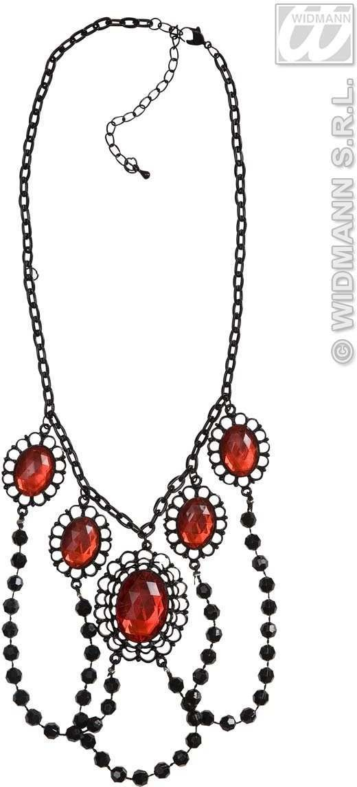 Black Beaded Chokers W/Red Gems - Fancy Dress
