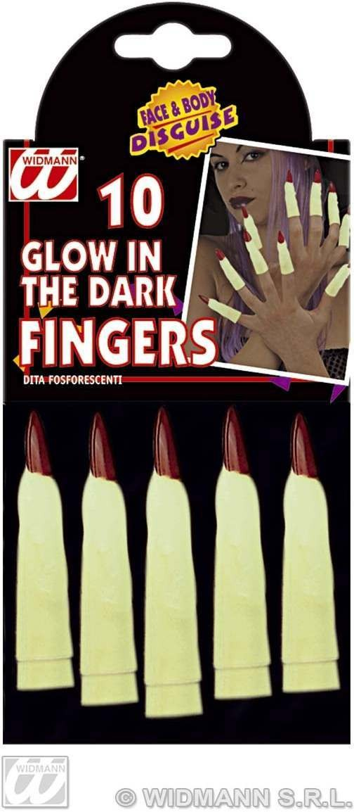 Set Of 10 Glow In The Dark Fingers Fancy Dress
