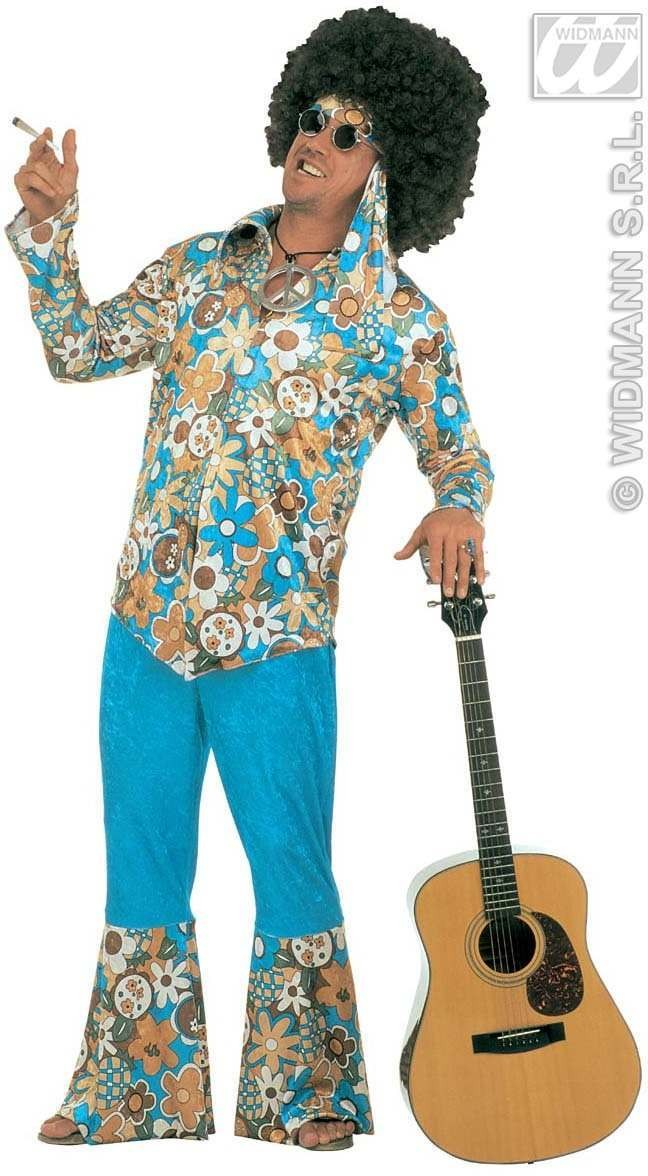 Xl Hippie Man Blue Velvet Fancy Dress Costume Mens (1960S)