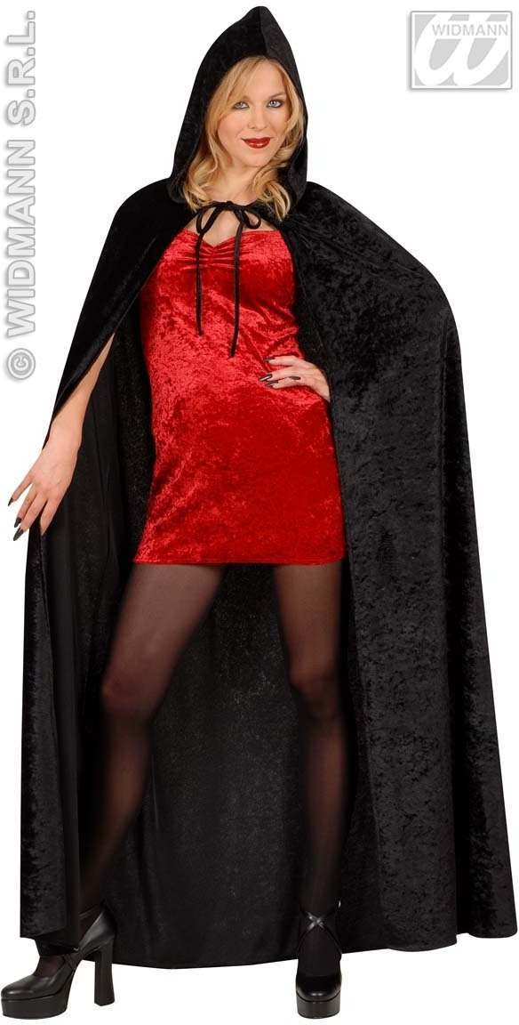 Hooded Cape Black Velvet 150Cm Fancy Dress Costume (Halloween)