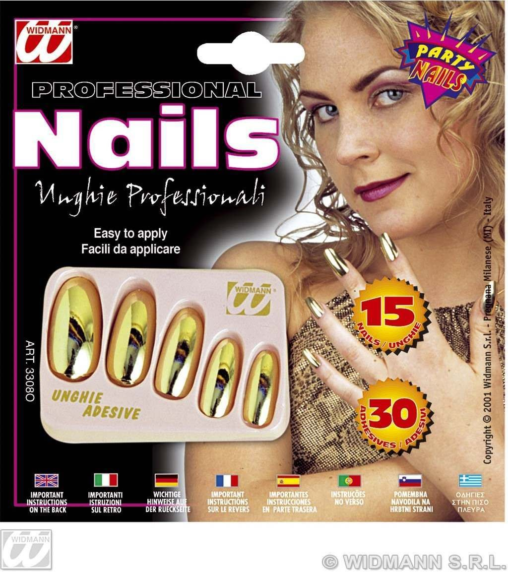 Gold Metallic Nails W/Adhesives - Fancy Dress