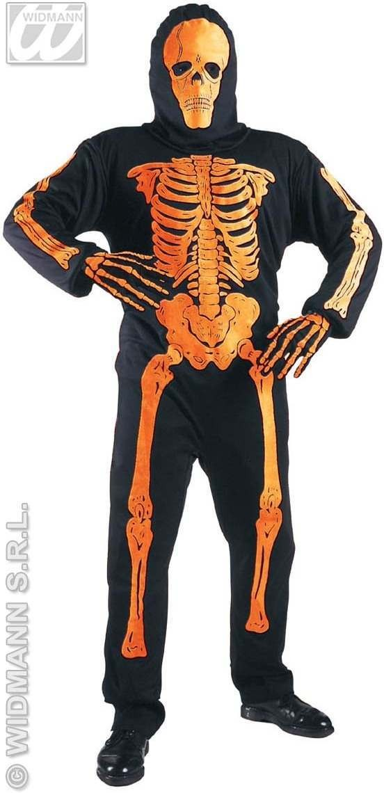 3D Neon Skeleton Costume Kids Orange Age 11-13 Costume (Halloween)