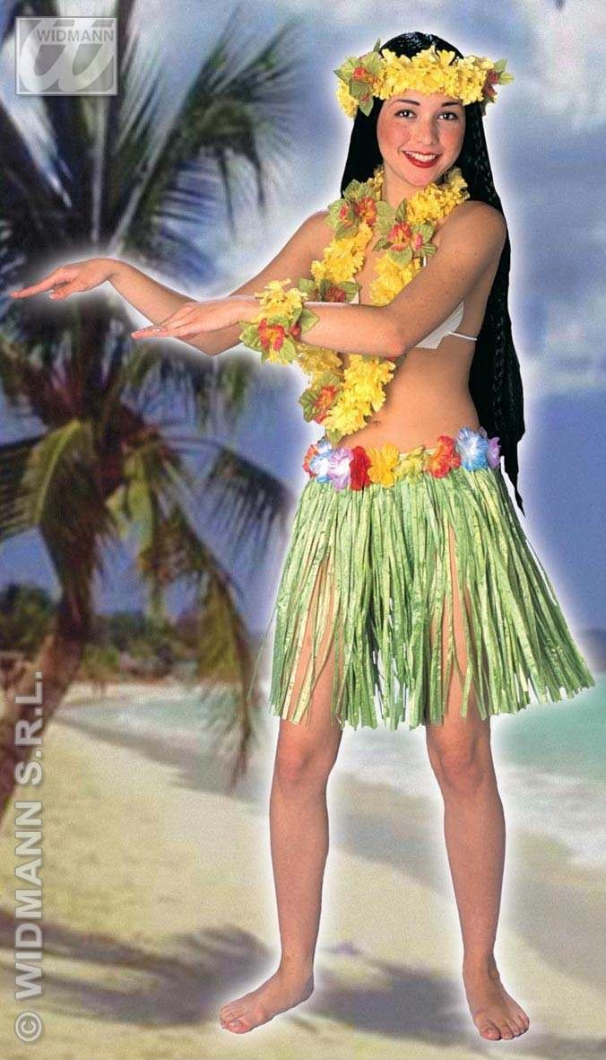 Aloha Mini Skirt Flower Belt 45Cm - Fancy Dress