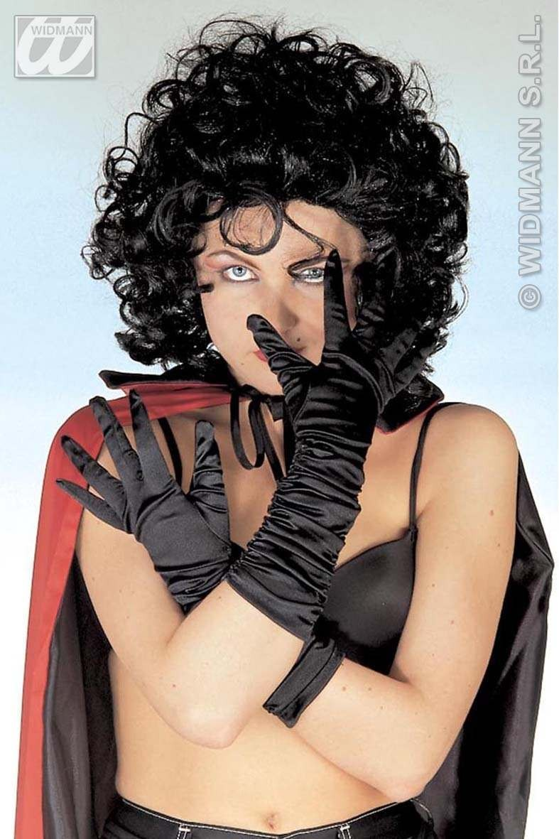 Plisse Satin Gloves Black - Fancy Dress