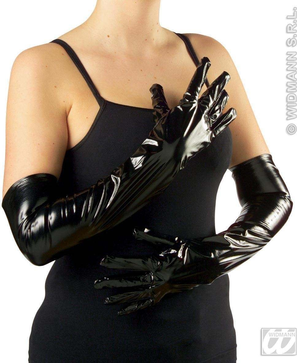Gloves Vinyl 56Cm Black - Fancy Dress