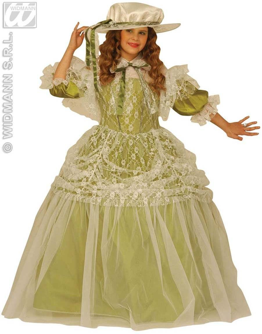 Milady Kids Costume Green W/Hoop Costume Age 5-7 Girls (Medieval)