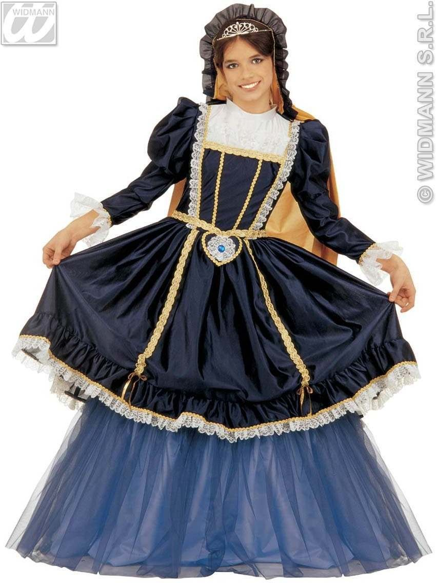 Court Milady - Dress W/Wire Hoop, Hooded Cape, Costume (Medieval)