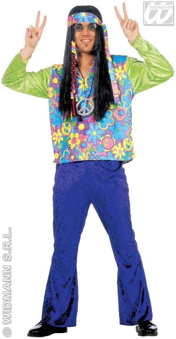 Hippy Mens Costume Velvet Fancy Dress Costume (1960S)