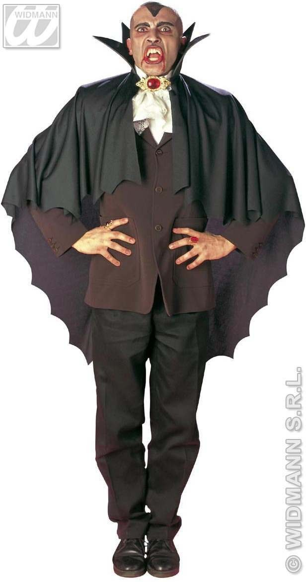 Vampire Cape W/Stand Up Collar Black - Fancy Dress (Halloween)