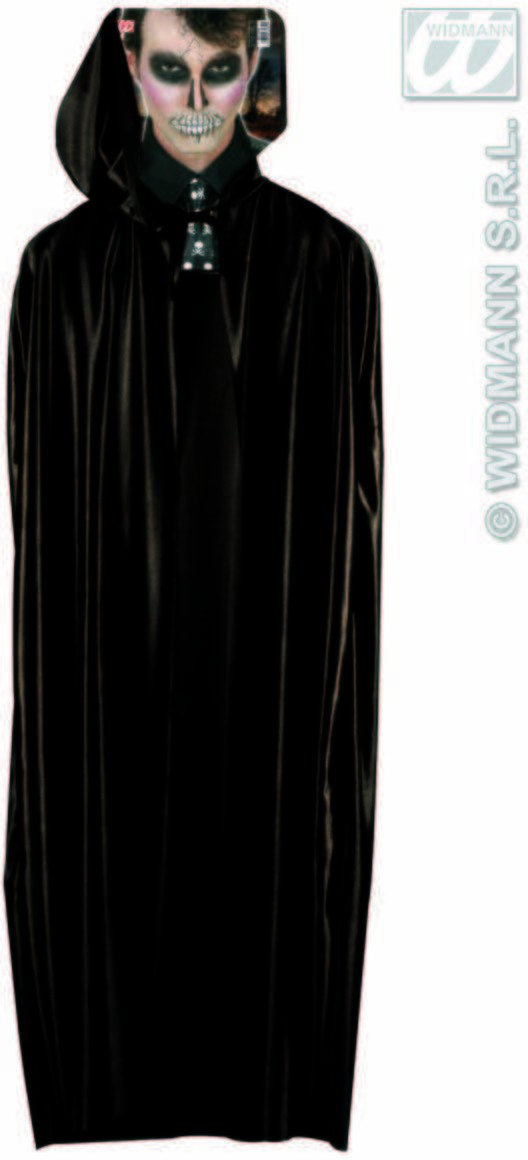 Long Black Hooded Cape Fancy Dress Costume (Halloween)