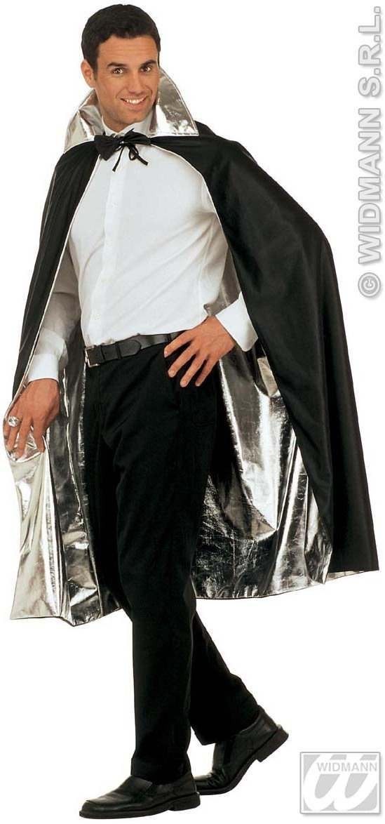 Cape Reversible Black/Silver Fancy Dress Costume