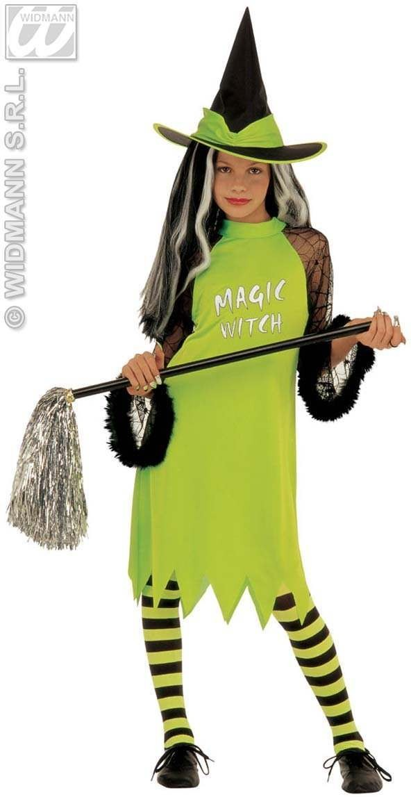 Magic Witch Costume Kids Green Costume Age 5-7 Girls (Halloween)