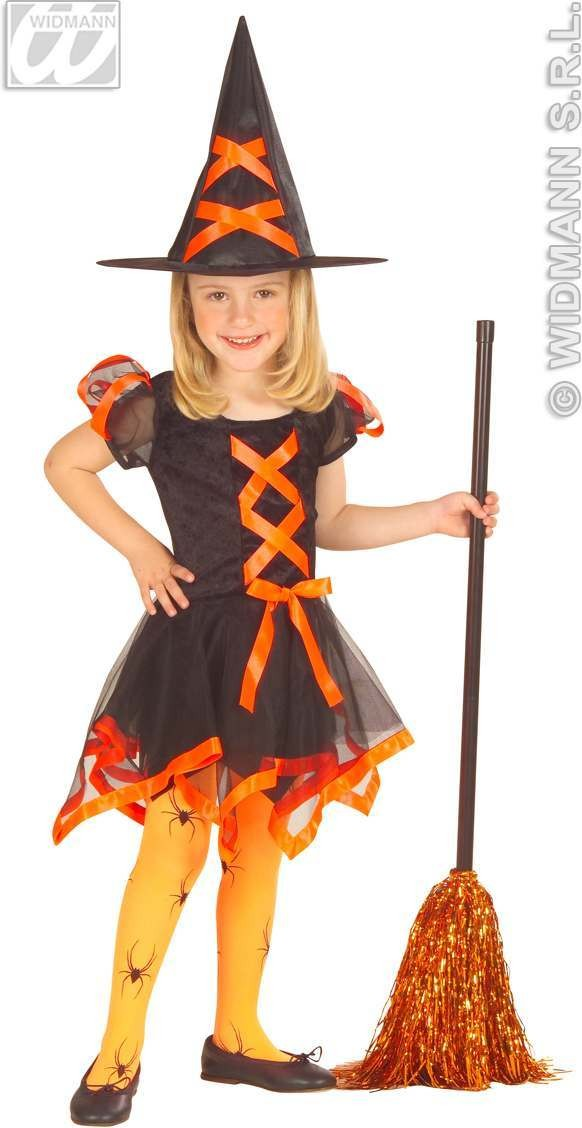 Little Neon Witch With Dress And Hat Fancy Dress Girls (Halloween)