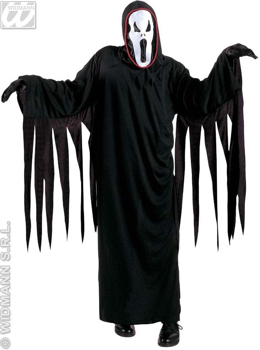 Screaming Ghost With Robe, Belt, Hooded Mask Costume (Halloween)