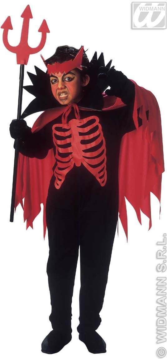 Scary Devil - Jumpsuit, Cape W/Stand, Up Collar Costume (Halloween)