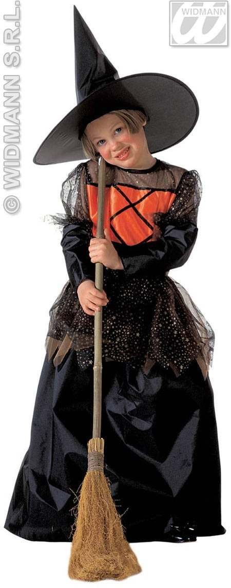 Witch Deluxe Kids Orange/Blk Age 11-13 Costume Girls (Halloween)