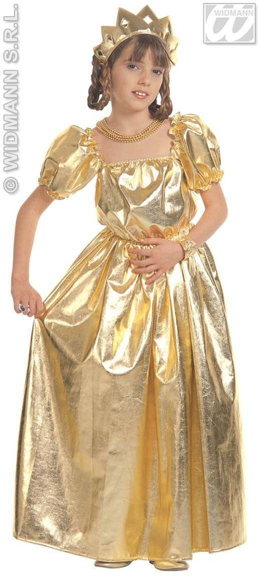 Golden Princess With Dress, Crown Fancy Dress Costume (Royalty)