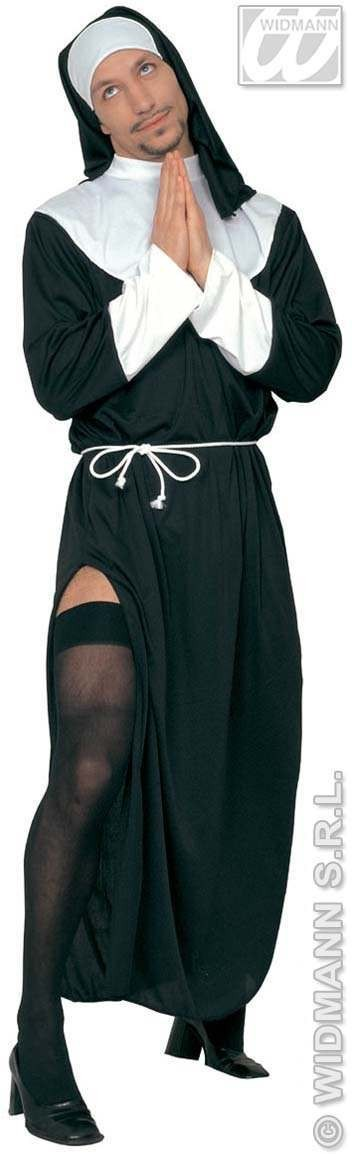 Mr.Nun With Dress, Belt And Headpiece Fancy Dress Mens (Vicars/Nuns)