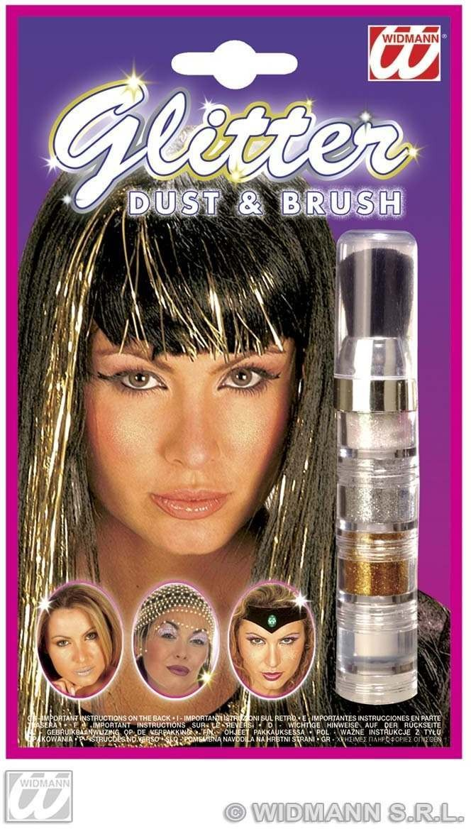 Glitter Dust & Brush Set Silv/Gld/Irri/Clr Fancy Dress