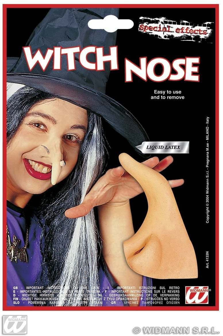 Theatrical Witch Nose W/Adhesive - Fancy Dress (Halloween)