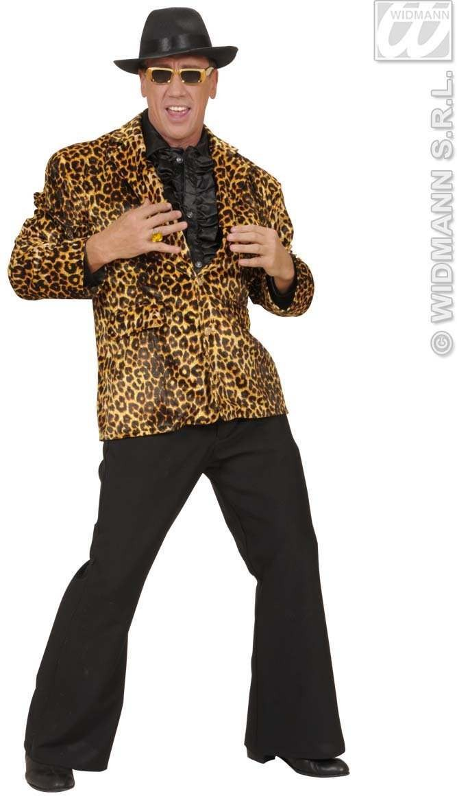 Velvet Leopard Party Animal Jacket - Fancy Dress Mens (Animals)