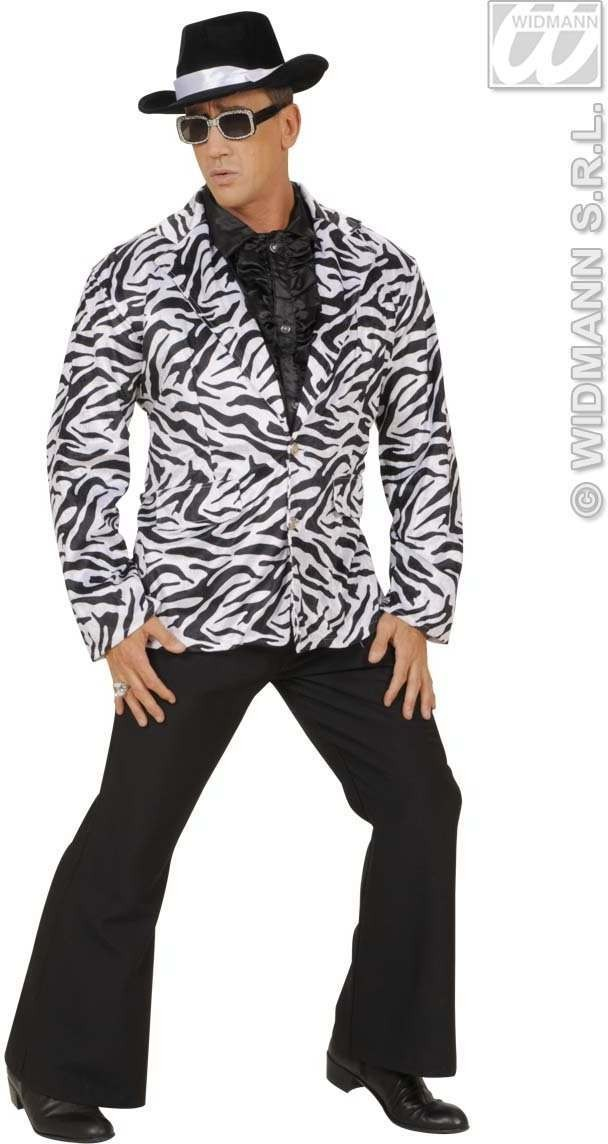 Velvet Zebra Party Animal Jacket - Fancy Dress Mens (Animals)