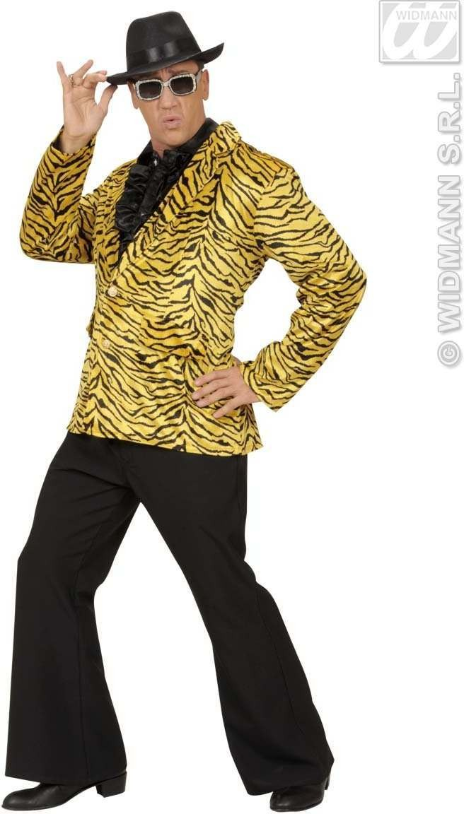 Velvet Tiger Party Animal Jacket - Fancy Dress Mens (Animals)