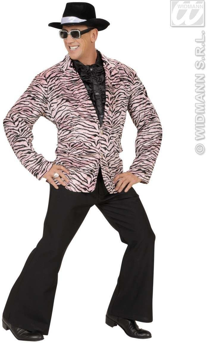 Velvet Pink Tiger Party Animal Jacket - Fancy Dress (Animals)