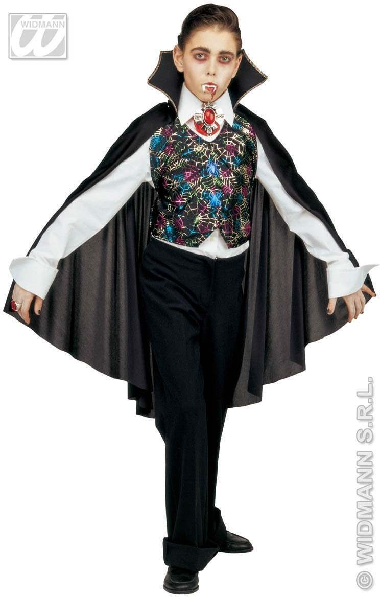 Vampire Vest W/Cape 2 Styles Fancy Dress Costume Boys (Halloween)