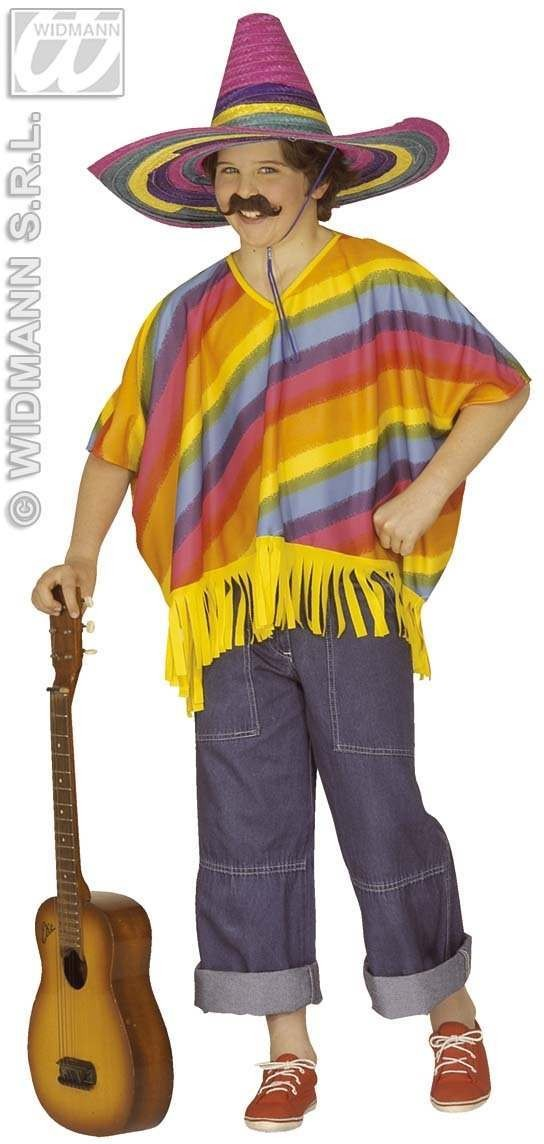 Multicolour Poncho Child Fancy Dress Costume (Cultures)