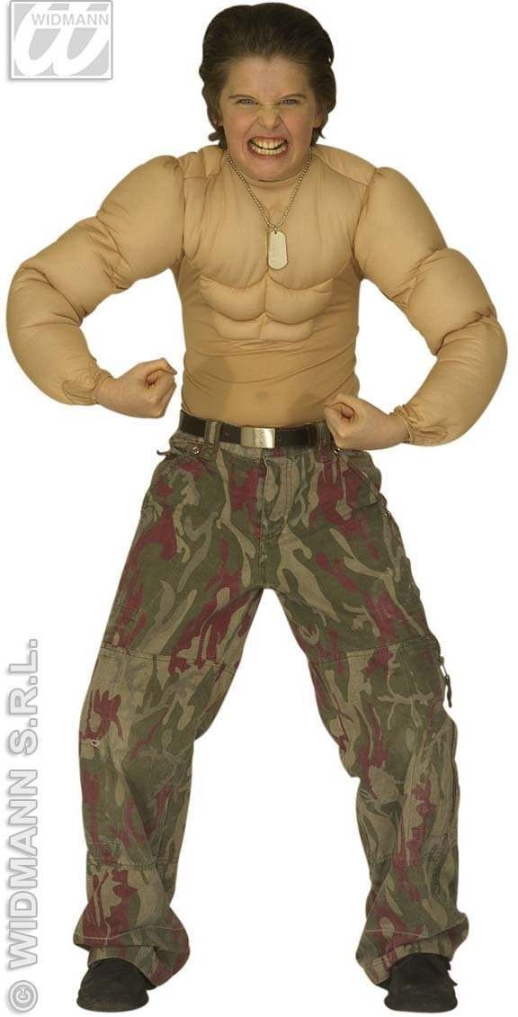 Super Muscle Shirt Child Fancy Dress Costume Boys