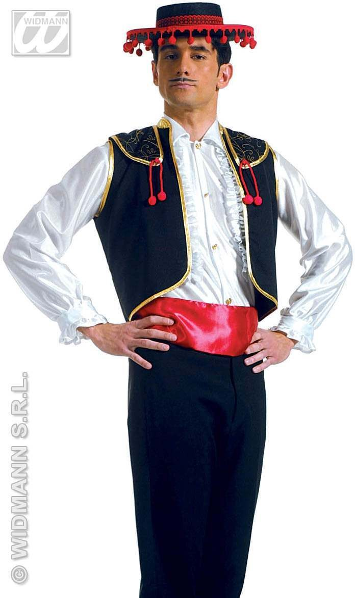 Xl Torero Vest With Belt Fancy Dress Costume