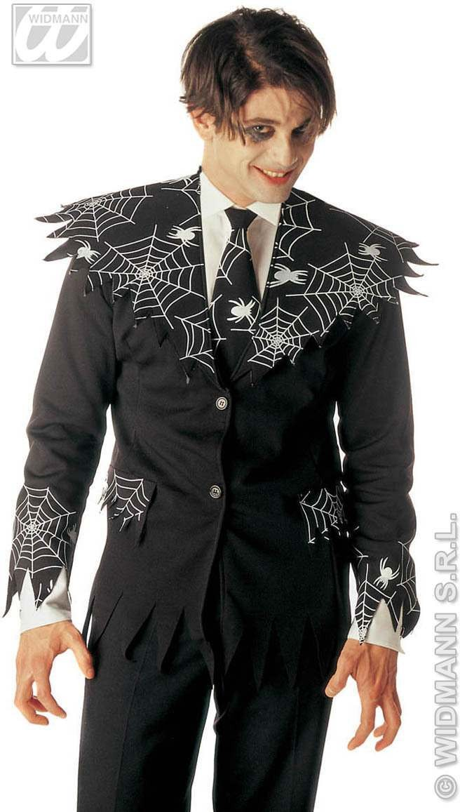 Spiderweb Jacket With Tie Fancy Dress Costume (Halloween)