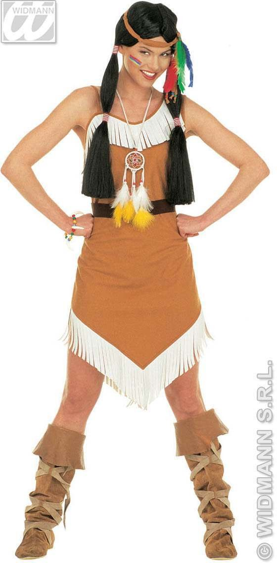 Comanche Dress Adult W Belt/H/Band Fancy Dress Costume