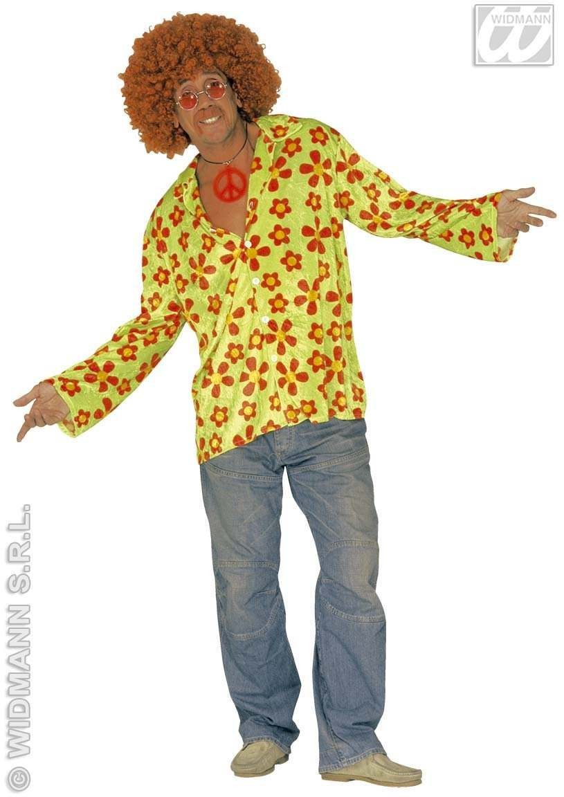 Hippie Flower Shirt Velvet Fancy Dress Costume (1960S)