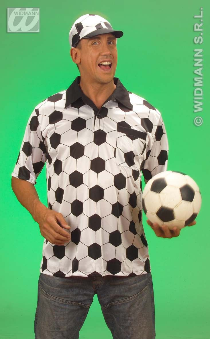 Soccer Fan T Shirt / Cap Adult Fancy Dress Costume Mens (Sport)