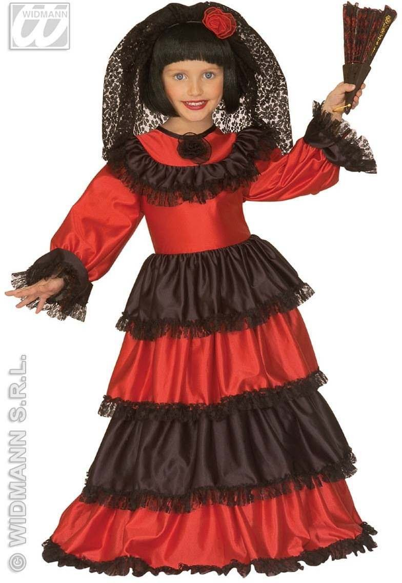 Senorita With Dress W/Wirehoop, Lace Headpiece Costume (Spanish)