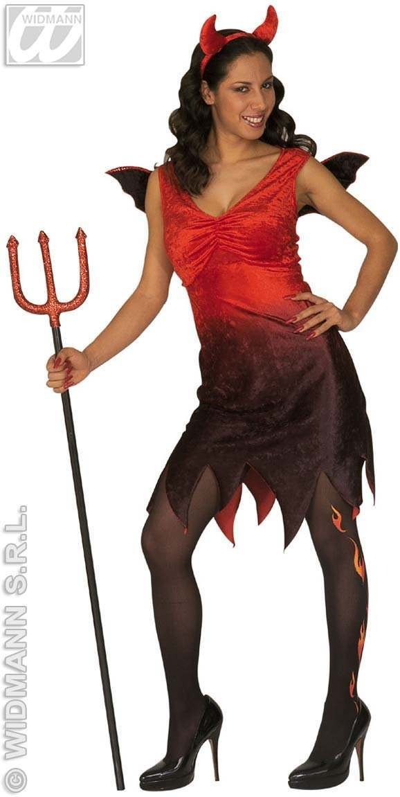 Devil Lady Dress W/Wings And Horns Fancy Dress Costume (Halloween)